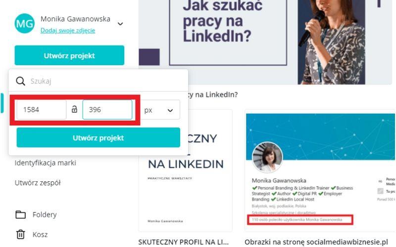 Obrazek pokazuje, jak ustawić rozmiar zdjęcia w tle na LinkedIn w programie Canva.