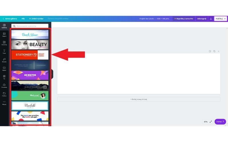 Obrazek pokazuje, jak wybrać szablon zdjęcia w tle na LinkedIn w programie Canva.