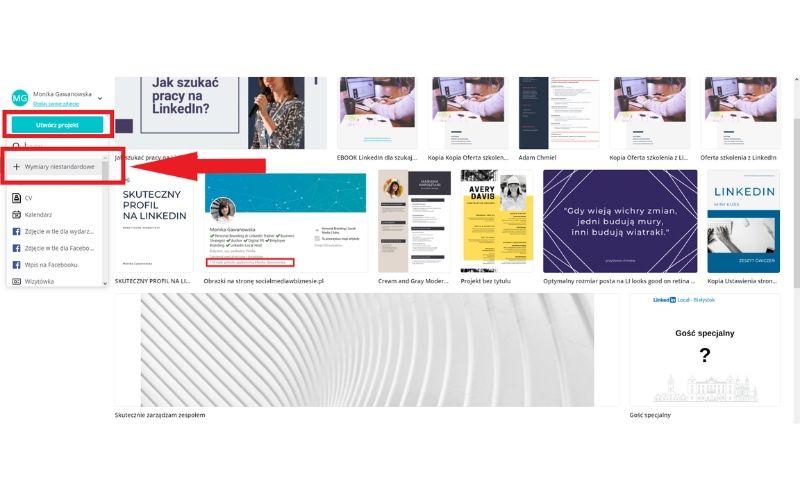 Obrazek pokazuje, jak zrobić zdjęcie w tle na LinkedIn w programie Canva.