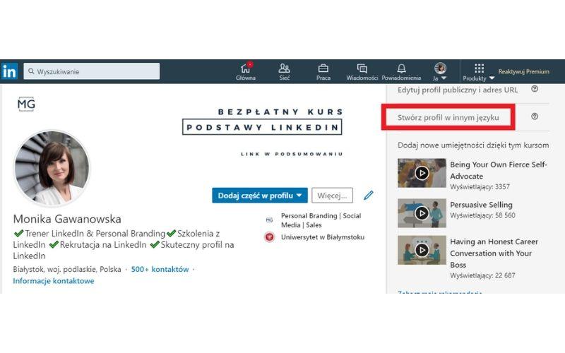Obrazek pokazuje, jak dodać profil w innym języku na LinkedIn.
