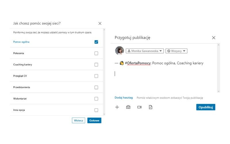 Posty na LinkedIn - zaoferuj pomoc.