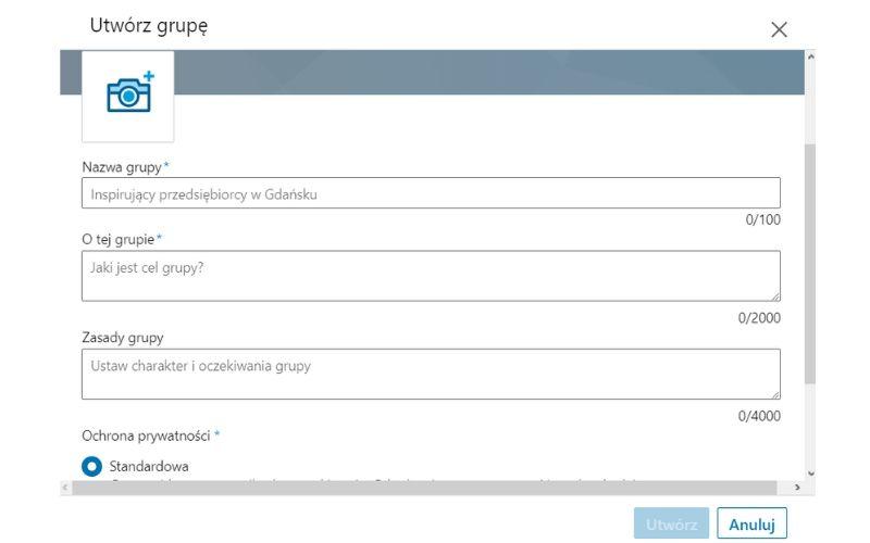 Obrazek pokazuje, jak założyć grupę na LinkedIn.