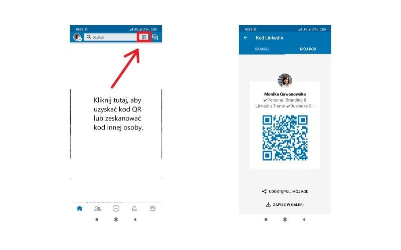 Obrazek pokazuje, gdzie znaleźć i jak zeskanować kod qr w profilu na LinkedIn.