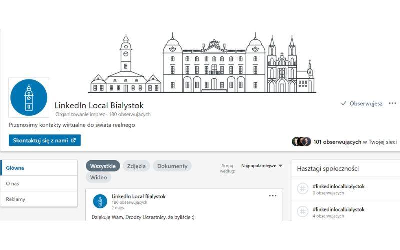 Obrazek pokazuje przykład strony firmowej na LinkedIn - company page LinkedIn Local Białystok.