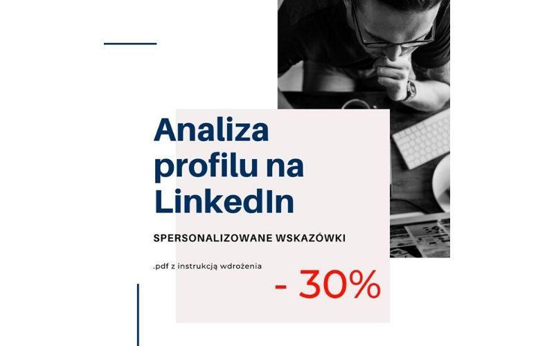 Obrazek pokazuje, z jakiej zniżki na opracowanie profilu na LinkedIn można skorzystać.