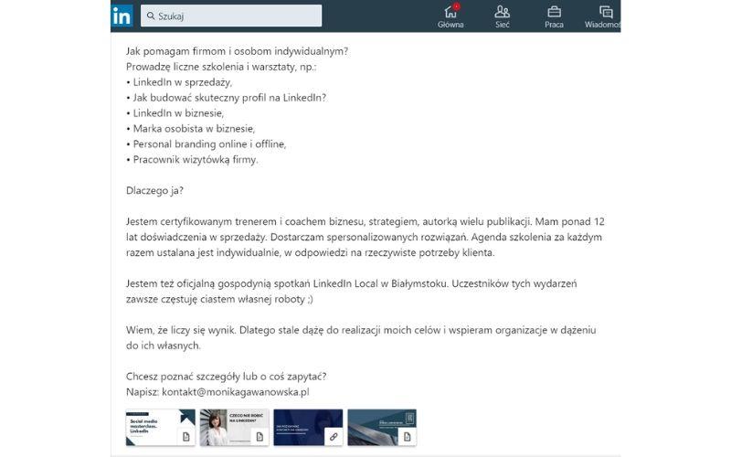 Obrazek pokazuje, gdzie znaleźć podsumowanie profilu na LinkedIn i jak je zmienić.