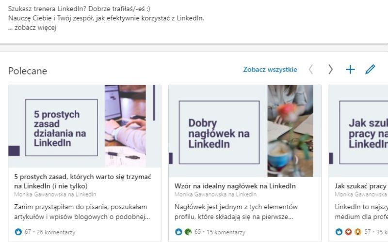 Obrazek pokazuje, jak uzupełnić część Polecane w profilu na LinkedIn.
