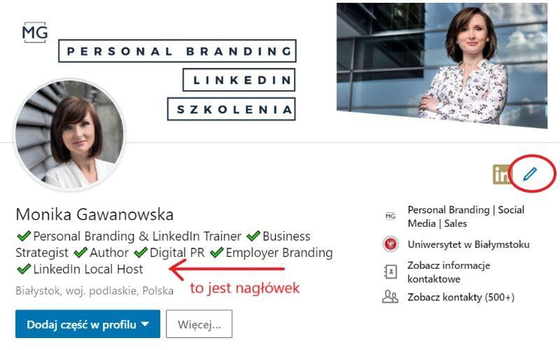 Obrazek pokazuje, gdzie znaleźć nagłówek profilu na LinkedIn i jak go zmienić.