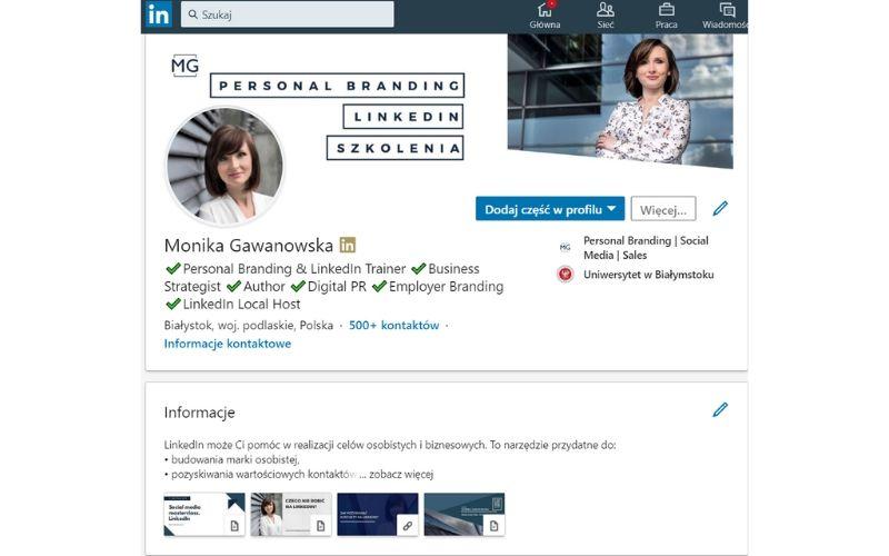 Obrazek pokazuje, jak zmienił się wygląd profilu na LinkedIn.