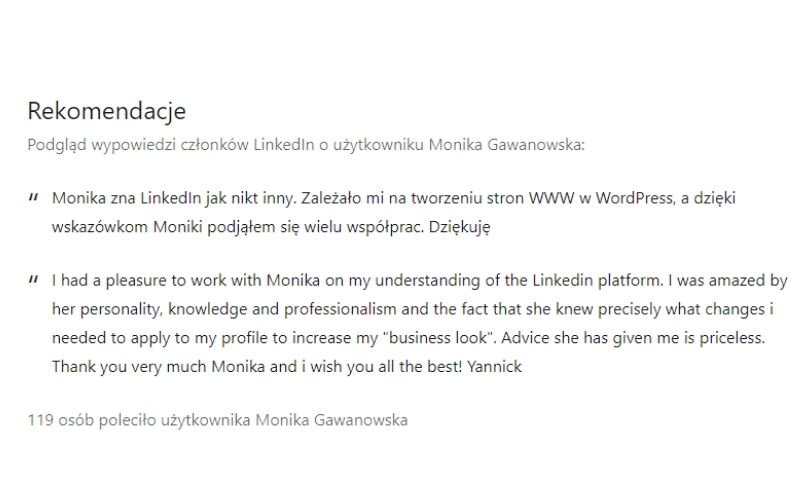 Obrazek pokazuje przykład rekomendacji na LinkedIn.