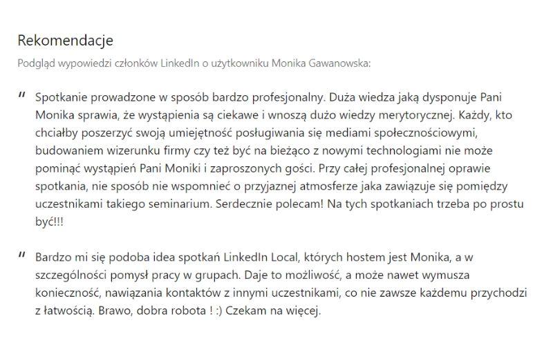 Obrazek pokazuje, czym są rekomendacje w profilu na LinkedIn.