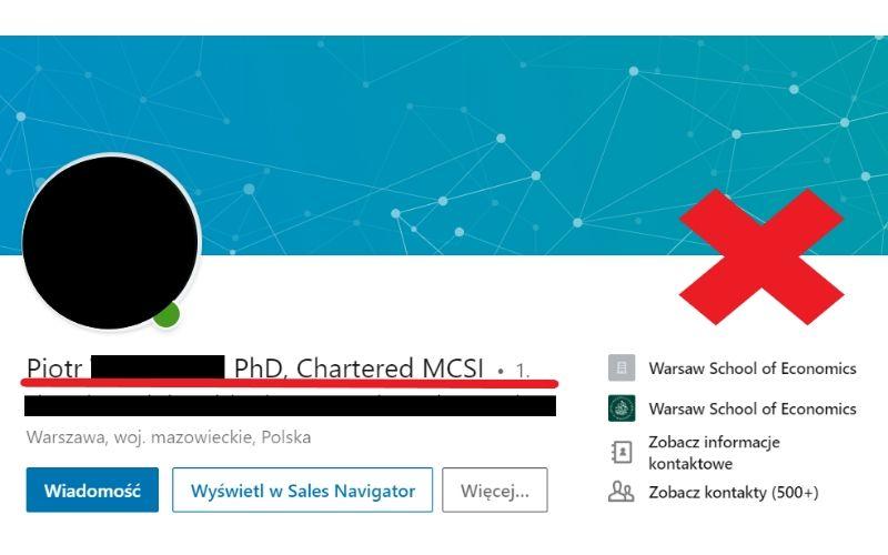 Obrazek pokazuje, jak nie należy formułować nazwy profilu prywatnego na LinkedIn