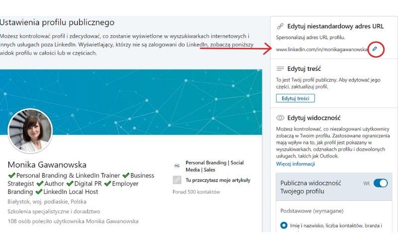 Obrazek pokazuje, gdzie i jak zmienić unikalny adres url profilu na LinkedIn.