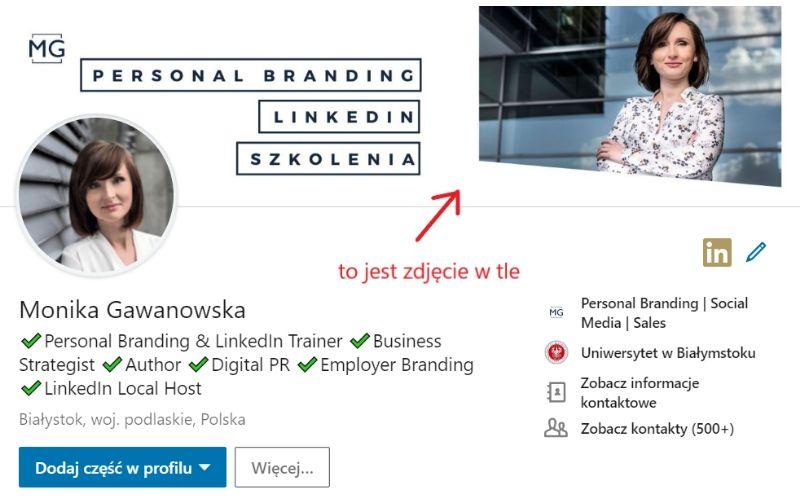 Obrazek pokazuje, gdzie jest zdjęcie w tle w profilu na LinkedIn.