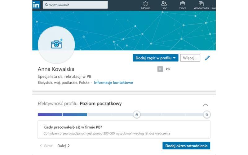 Pusty profil na LinkedIn to jeden z podstawowych błędów podczas budowania marki osobistej na LinkedIn