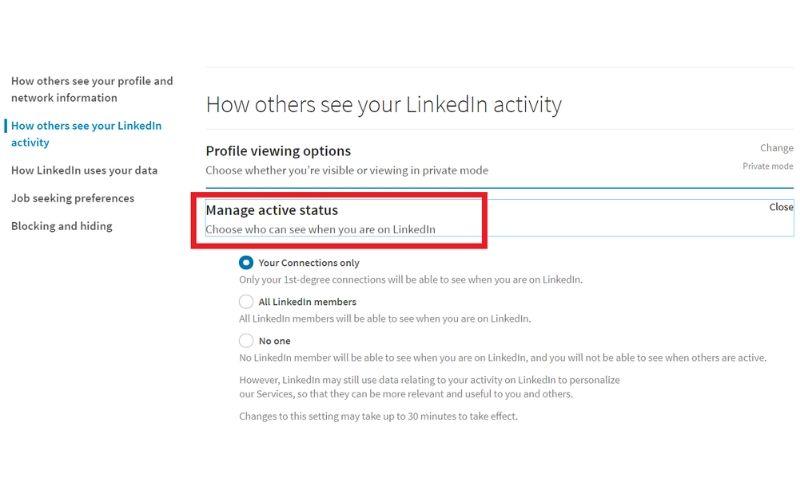 Jak zmienić zielone kółeczko koło zdjęcia, żeby inni nie widzieli, że jestem aktywny na LinkedIn?