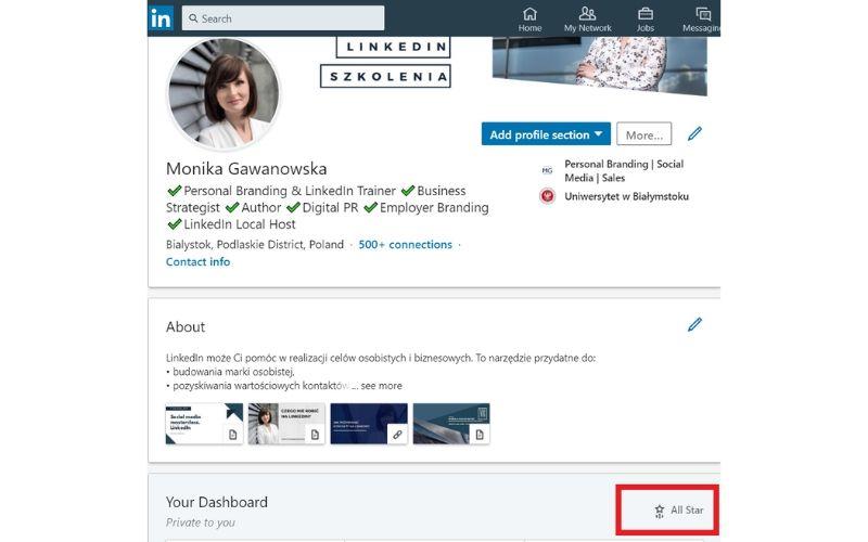 Kompletny profil na LinkedIn