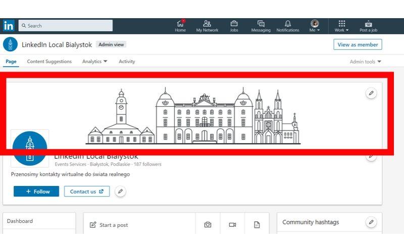 Obrazek pokazuje, jak prowadzić stronę firmową na LinkedIn i uzupełnić zdjęcie w tle