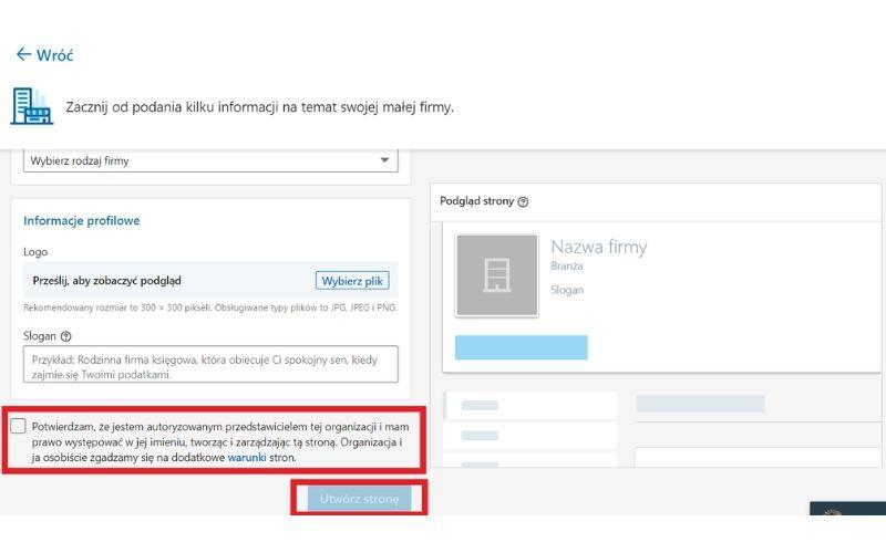 Obrazek pokazuje, jak zakończyć tworzenie strony firmowej na LinkedIn.