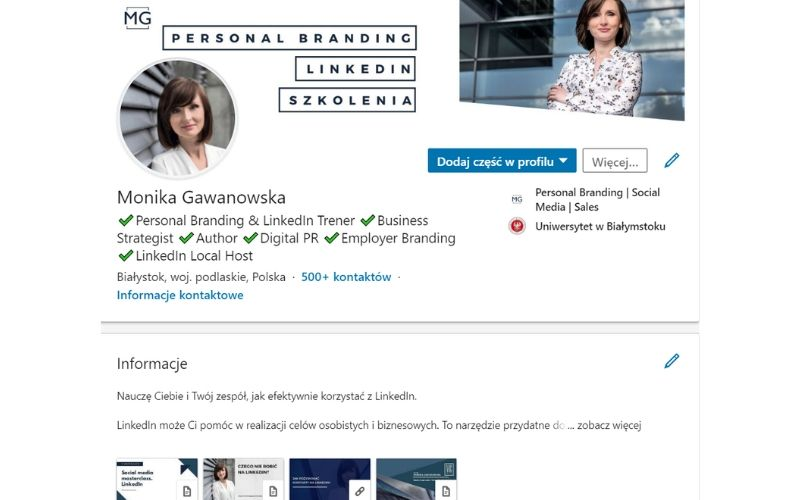 Obrazek pokazuje profil osobisty na LinkedIn, z którego zakłada się stronę firmową.