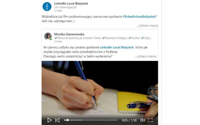 Obrazek pokazuje film opublikowany na stronie firmowej marki LinkedIn Local.