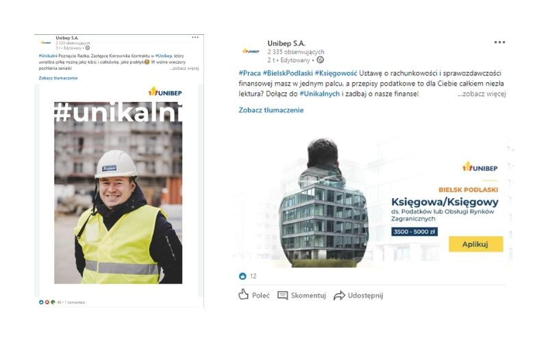 Obrazek pokazuje przykład strony firmowej i profilu firmy na LinkedIn