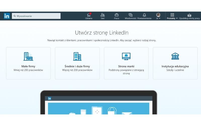 Obrazek pokazuje, jakie rodzaje stron dla firmy można wybrać podczas zakładania strony firmowej.