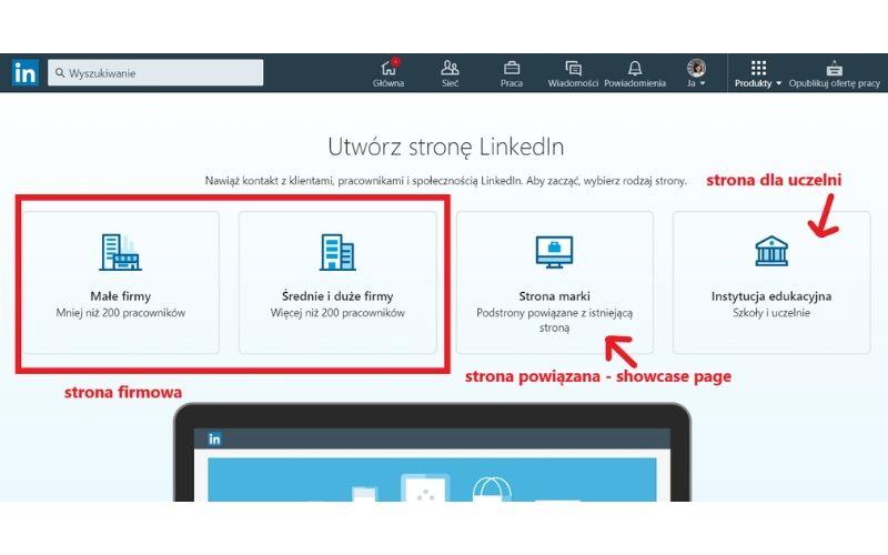 Obrazek pokazuje, jak założyć stronę firmową na LinkedIn.