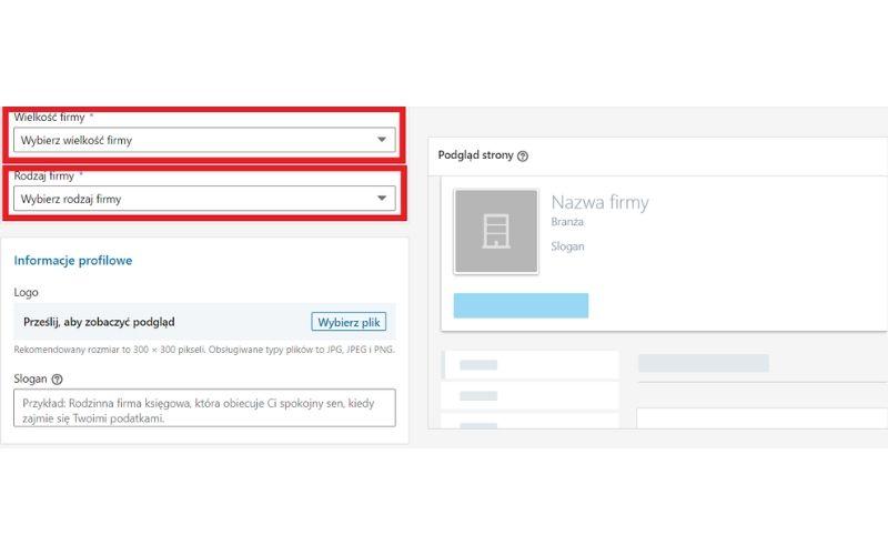 Obrazek pokazuje, jakie dodatkowe informacje należy podać przy zakładaniu strony firmowej na LinkedIn