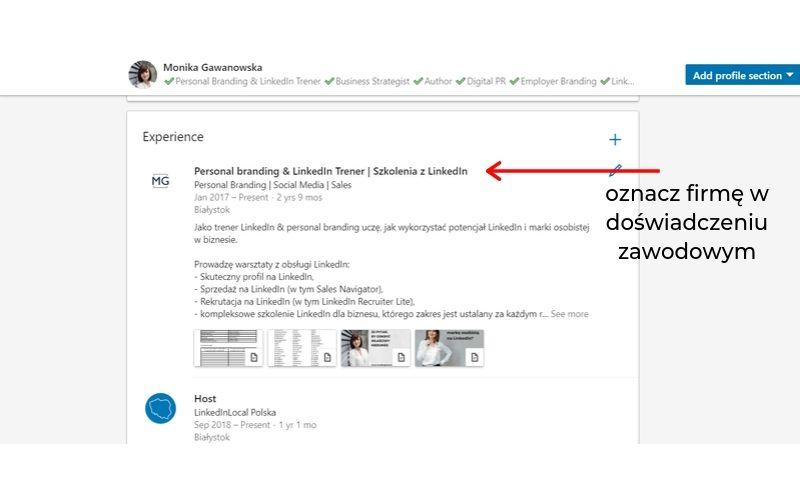Obrazek pokazuje, jak oznaczyć firmę w doświadczeniu zawodowym na LinkedIn