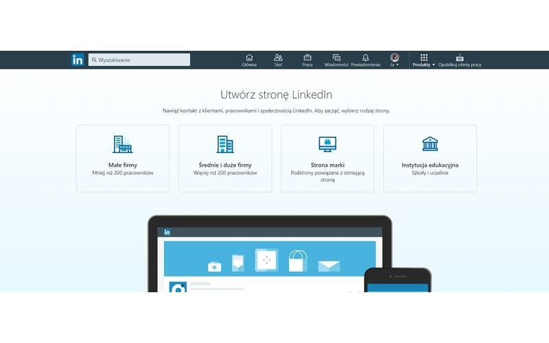 Obrazek pokazuje zakładanie konta firmowego na LinkedIn